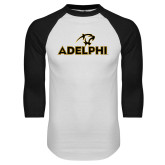 White/Black Raglan Baseball T Shirt-Adelphi with Panther Head