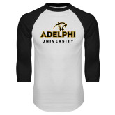 White/Black Raglan Baseball T Shirt-Panther Head Adelphi University