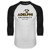 White/Black Raglan Baseball T Shirt-Panther Head Adelphi University New York
