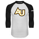 White/Black Raglan Baseball T Shirt-AU