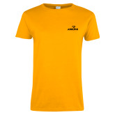 Ladies Gold T Shirt-Adelphi with Panther Head