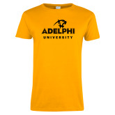 Ladies Gold T Shirt-Panther Head Adelphi University