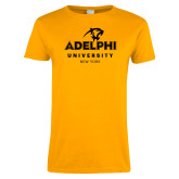 Ladies Gold T Shirt-Panther Head Adelphi University New York