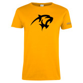 Ladies Gold T Shirt-Panther Head