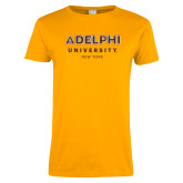 Ladies Gold T Shirt-Adelphi University New York Institutional