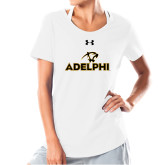 Ladies Under Armour White Charged Cotton Tee-Adelphi with Panther Head