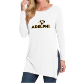 Ladies White Side Slit Tunic-Adelphi with Panther Head
