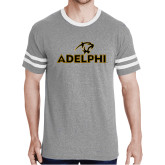 Grey Heather/White Tri Blend Varsity Tee-Adelphi with Panther Head
