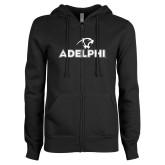 ENZA Ladies Black Fleece Full Zip Hoodie-Adelphi with Panther Head