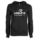 ENZA Ladies Black Fleece Full Zip Hoodie-Panther Head Adelphi University