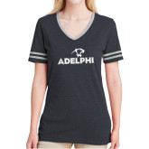 Ladies Black Heather/Grey Tri Blend Varsity Tee-Adelphi with Panther Head