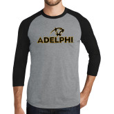 Grey/Black Tri Blend Baseball Raglan-Adelphi with Panther Head
