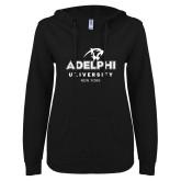 ENZA Ladies Black V Notch Raw Edge Fleece Hoodie-Panther Head Adelphi University New York