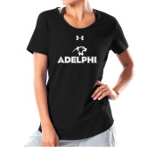 Ladies Under Armour Black Charged Cotton Tee-Adelphi with Panther Head