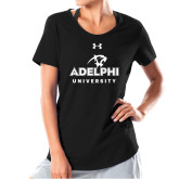 Ladies Under Armour Black Charged Cotton Tee-Panther Head Adelphi University