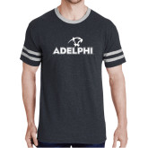 Black Heather/Grey Tri Blend Varsity Tee-Adelphi with Panther Head