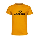 Youth Gold T Shirt-Adelphi with Panther Head