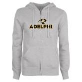 ENZA Ladies Grey Fleece Full Zip Hoodie-Adelphi with Panther Head