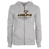 ENZA Ladies Grey Fleece Full Zip Hoodie-Panther Head Adelphi University New York