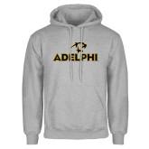 Grey Fleece Hoodie-Adelphi with Panther Head