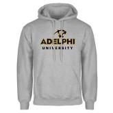 Grey Fleece Hoodie-Panther Head Adelphi University