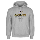 Grey Fleece Hoodie-Panther Head Adelphi University New York