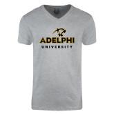 Next Level V Neck Heather Grey T Shirt-Panther Head Adelphi University