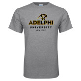 Grey T Shirt-Panther Head Adelphi University New York