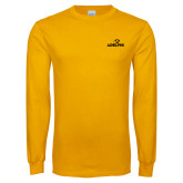 Gold Long Sleeve T Shirt-Adelphi with Panther Head