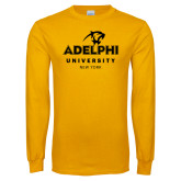 Gold Long Sleeve T Shirt-Panther Head Adelphi University New York