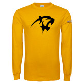 Gold Long Sleeve T Shirt-Panther Head
