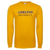 Gold Long Sleeve T Shirt-Adelphi University Institutional