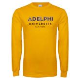 Gold Long Sleeve T Shirt-Adelphi University New York Institutional