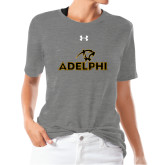 Ladies Under Armour Heather Grey Triblend Tee-Adelphi with Panther Head