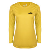 Ladies Syntrel Performance Gold Longsleeve Shirt-Adelphi with Panther Head