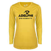 Ladies Syntrel Performance Gold Longsleeve Shirt-Panther Head Adelphi University