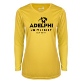 Ladies Syntrel Performance Gold Longsleeve Shirt-Panther Head Adelphi University New York