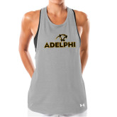 Ladies Under Armour Grey Pinhole Tank-Adelphi with Panther Head