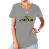 Ladies Under Armour Grey Charged Cotton Tee-Adelphi with Panther Head
