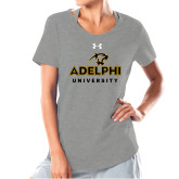 Ladies Under Armour Grey Charged Cotton Tee-Panther Head Adelphi University