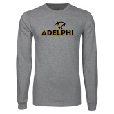 Grey Long Sleeve T Shirt-Adelphi with Panther Head