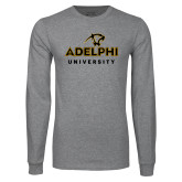 Grey Long Sleeve T Shirt-Panther Head Adelphi University