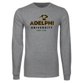 Grey Long Sleeve T Shirt-Panther Head Adelphi University New York