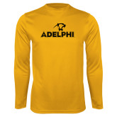 Performance Gold Longsleeve Shirt-Adelphi with Panther Head