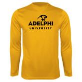 Performance Gold Longsleeve Shirt-Panther Head Adelphi University