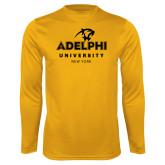 Performance Gold Longsleeve Shirt-Panther Head Adelphi University New York