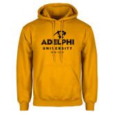 Gold Fleece Hoodie-Panther Head Adelphi University New York
