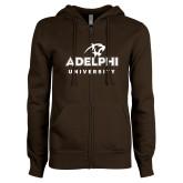 ENZA Ladies Brown Fleece Full Zip Hoodie-Panther Head Adelphi University