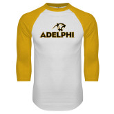 White/Gold Raglan Baseball T Shirt-Adelphi with Panther Head