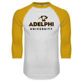 White/Gold Raglan Baseball T Shirt-Panther Head Adelphi University